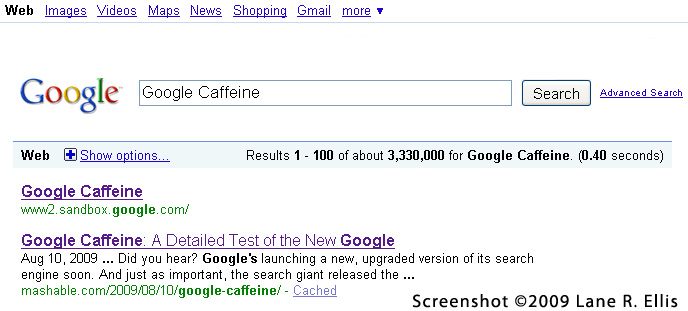 Google.com Search Results For Google Caffeine