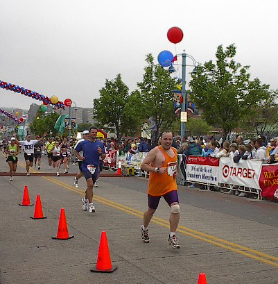 Lane R. Ellis finishes the 2002 Grandma's Marathon in Duluth,  Minnesota