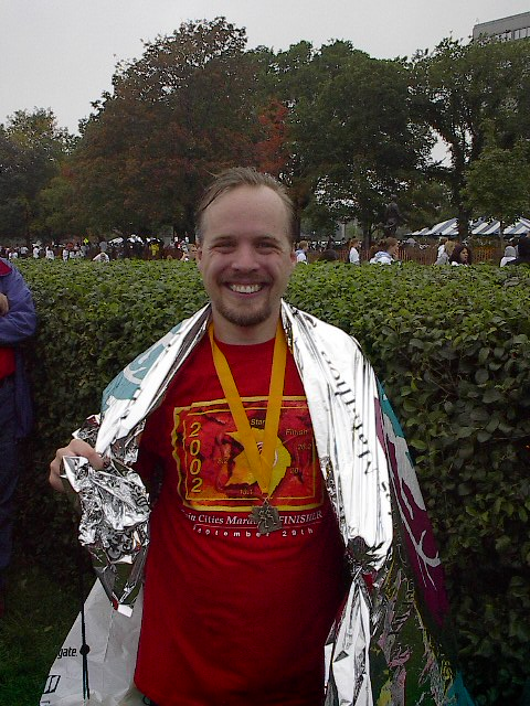 Lane R. Ellis after the 2002 Twin Cities Marathon in St. Paul,  Minnesota